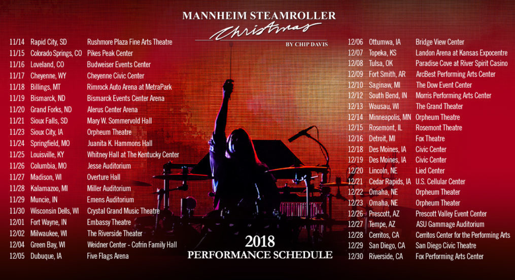 Tom with Mannheim Steamroller - 2018 Tour Dates
